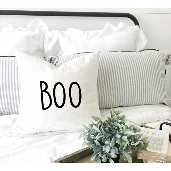 Boo Halloween White Pillow Case - Quote My Gift