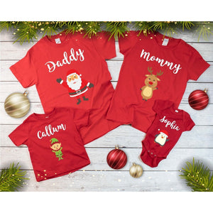 Custom Name Family Matching Christmas Red T-Shirts - Quote My Gift