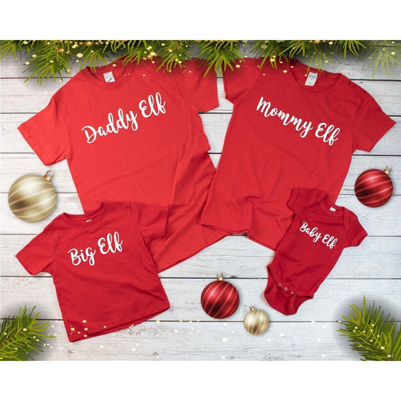 Family Matching Christmas T-Shirts - Red - Quote My Gift