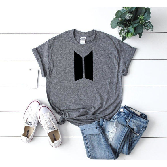Women's BTS Logo T-Shirt Grey - Quote My Gift