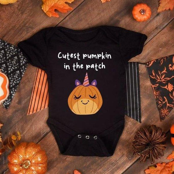 Cutest Pumpkin In The Patch Halloween Babysuit - Quote My Gift