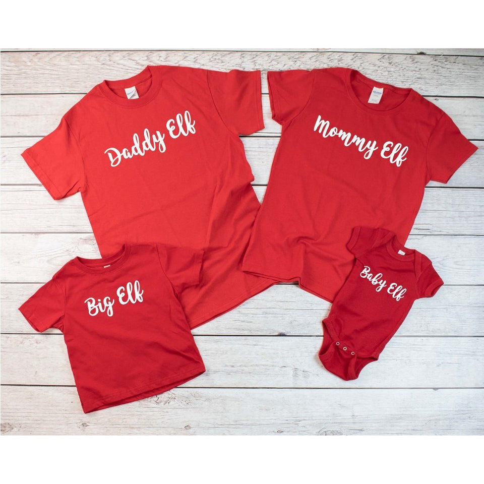 Family Christmas Custom Red T-Shirts - Quote My Gift