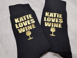 Personalised Gold Wine Socks - Quote My Gift