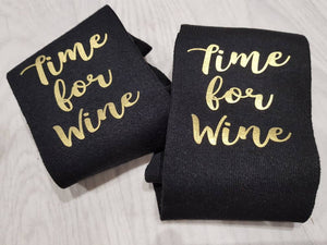 Time For Wine Gold Black Socks - Quote My Gift