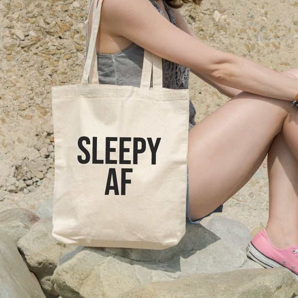 Sleepy AF Funny Canvas Shoulder Tote Bag - Quote My Gift