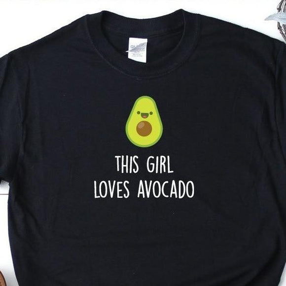 This Girl Loves Avocado Black T-Shirt - Quote My Gift