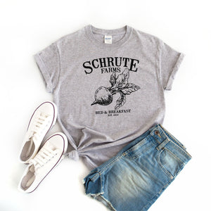 Women's Schrute Farms T-Shirt Grey - Quote My Gift