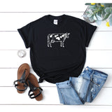 Women's Cow Illustration T-Shirt - Quote My Gift