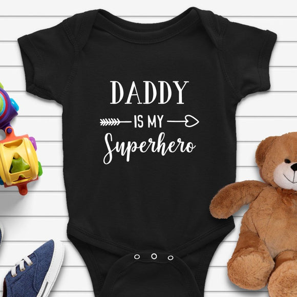 Daddy Is My Superhero Funny Baby Onesie - Quote My Gift