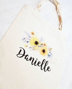 Custom Wedding Role Floral Tote Bag - Quote My Gift