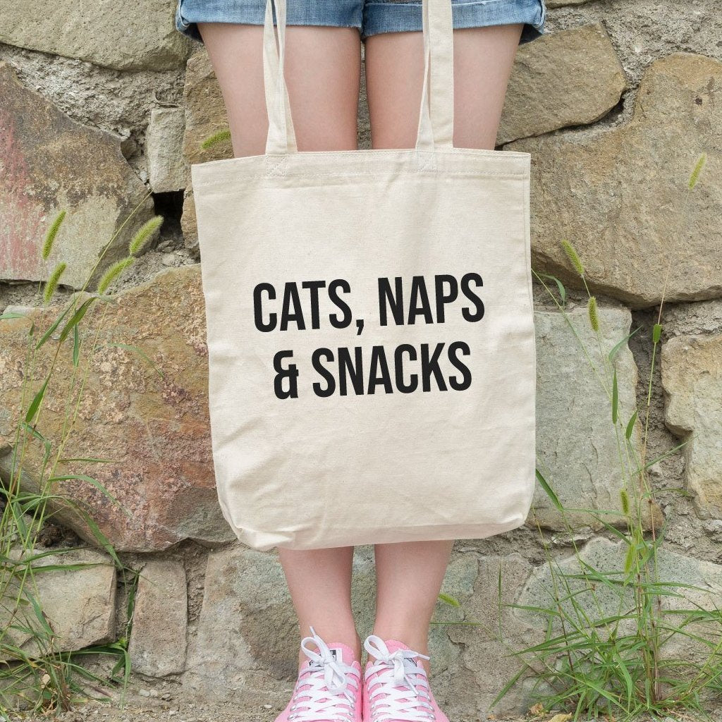 Cats, Naps & Snacks Funny Shoulder Tote Bag - Quote My Gift