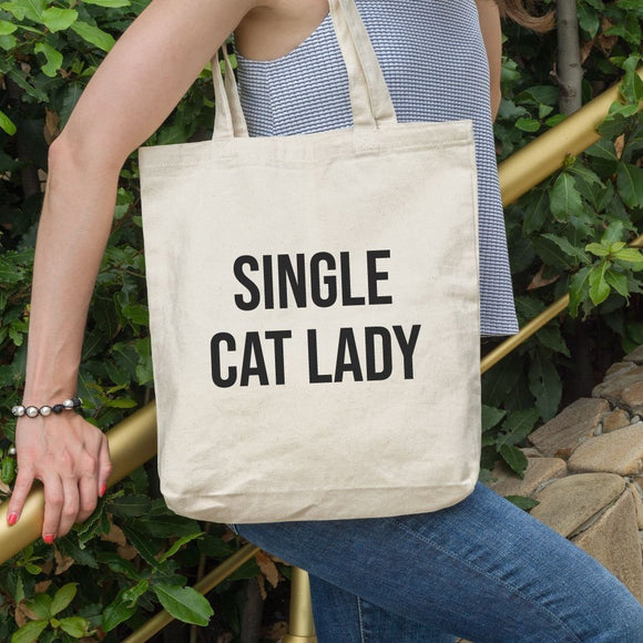 Single Cat Lady Funny Shoulder Tote Bag - Quote My Gift