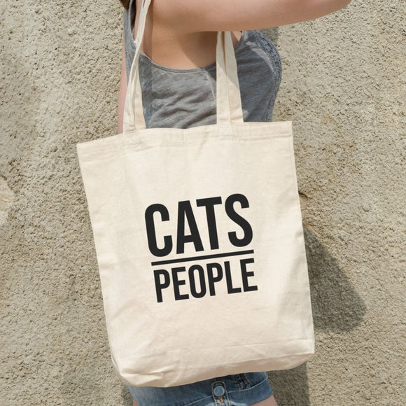 Cats Over People Funny Tote Bag - Quote My Gift