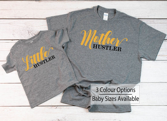 Mother Hustler Little Hustler Funny Matching Shirts - Quote My Gift