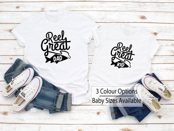 Reel Great Dad Son Matching Fishing Family Shirts - Quote My Gift