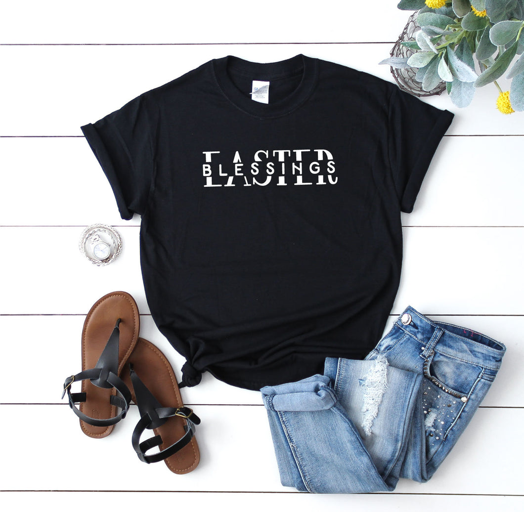Easter Blessings T-Shirt Unisex Easter Shirt Gift Slogan Quote Tee Black/White/Grey/Green - Quote My Gift