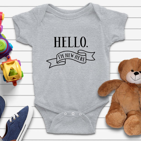 Hello I'm New Here Baby Grow Quote - Quote My Gift