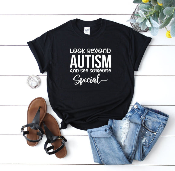 Look Beyond Autism Shirt - Quote My Gift