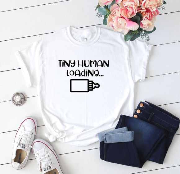 Tiny Human Loading Funny Maternity Shirt - Quote My Gift