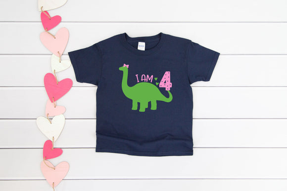 Custom Girls Dinosaur Birthday T-Shirt - Quote My Gift
