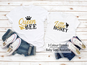 Queen Bee Little Honey Matching Shirts - Quote My Gift
