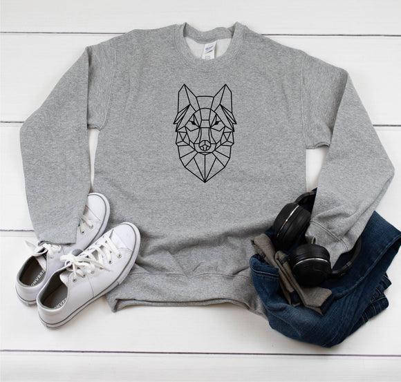 Geometric Wolf Sweatshirt - Quote My Gift