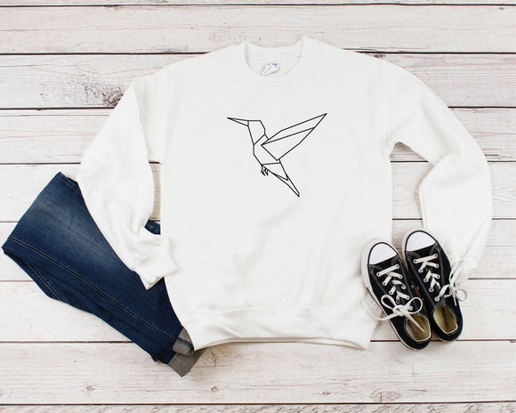 Flying Hummingbird Geometric Sweatshirt - Quote My Gift