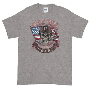 Blood Sweat And Gears USA Flag Skull T-Shirt - Quote My Gift