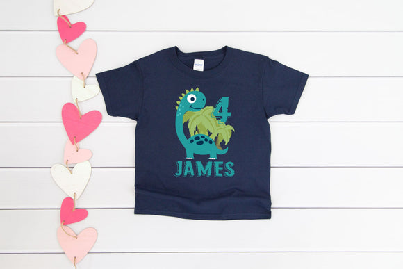 Personalised Kids Dinosaur Birthday Shirt - Quote My Gift