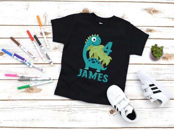 Custom Boys Dinosaur Birthday Shirt T-Shirt - Quote My Gift