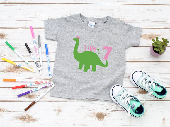 Custom Kids Dinosaur Birthday T-Shirt - Quote My Gift