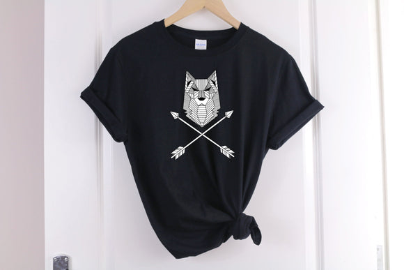Geometric Wolf T-Shirt - Quote My Gift