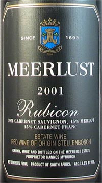 Meerlust Rubicon Wine - Stellenbosch 2015 750ml