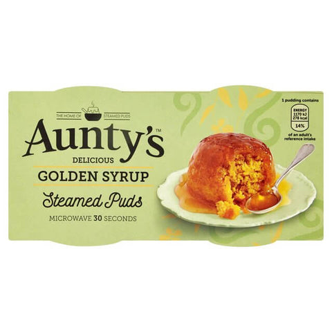 Auntys Golden Syrup Steamed Puddings (Pack of 2) 190g - African Hut