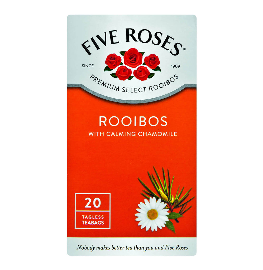 Five Roses Tea - Rooibos and Chamomile Tea Bags (Pack of 20 Bags) 30g