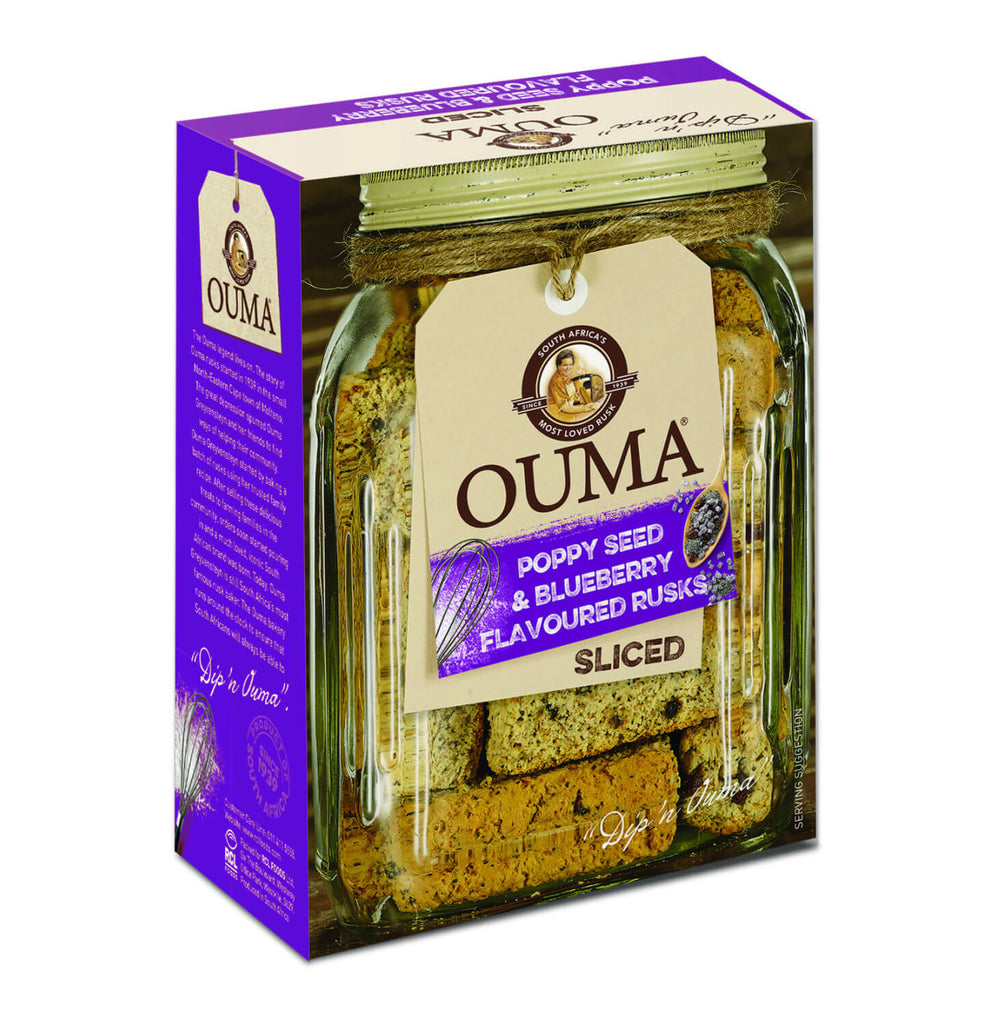 Nola Ouma Rusks - Breakfast Sliced With Poppy Seeds and Blueberry Flavour 450g