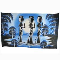 "African Hut African Art Water Carriers in Blue (30"" x 18"") 50g"