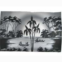 African Hut African Tribal Art on the River in Black and White 50g