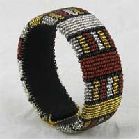 African Hut Beaded Bangle Wide Ethnic (Beadwork Varies) 39g