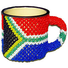 African Hut Beaded Tin Mug Large SA Flag 154g