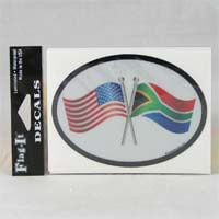 African Hut Decal USA and SA Flags Oval Shape Reflective and Waterproof 10g