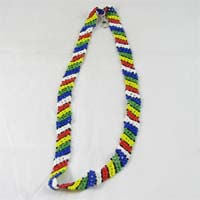 African Hut Beaded Wide Lanyard with Wide Colored Stripes 35g - African Hut