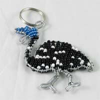 African Hut Beaded Keyring Black White and Blue Guinea Fowl 26g - African Hut