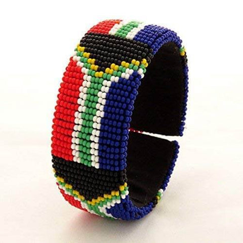 African Hut Beaded Bangle Wide South African Flag 39g - African Hut