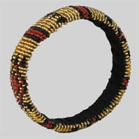 African Hut Beaded Bangle Thin Ethnic (Beadwork Varies) 20g