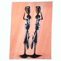 "African Hut African Art Water Carriers in Peach Tones (30"" x 18"") 50g"
