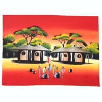 "African Hut African Art Village Life at Sunset (29"" x 17"") 50g - African Hut"