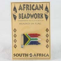 African Hut Beaded Flag on a Card to Help Local Women Support their Families 7g