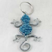 African Hut Beaded Keyring Gecko Light Blue Color 23g