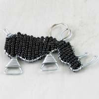 African Hut Beaded Keyring Rhino Black Color 23g - African Hut